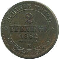SACHSEN 2 PFENNIG 1862 B Hannover Mint German States #DE10639.16DW