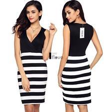 Finejo Women Sexy Sleeveless Stripe Patchwork High Waist Bodycon Stretch Dress