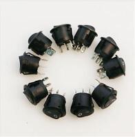 5Pcs Mini Round 3 Pin SPDT ON-OFF Rocker Switch Snap-in Black SP