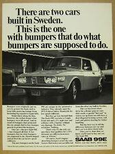 1972 Saab 99E 99-E Coupe car parking photo vintage print Ad