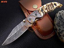 Custom made Damascus Folding Knife damascus Bolster Sheep Horn Handle
