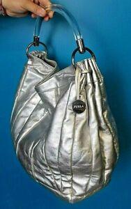 Sac luxe Furla cuir argenté authentique luxury leather bag second hand silver