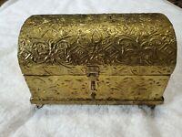 Vintage 1970s Gold Tin Stamped Treasure Trinket Jewelry Chest Box Made In India