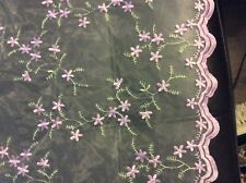 """purple scalloped edge organza tulle all-over embroidered flower, 52"""" by 36""""."""