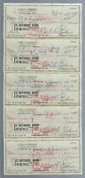 VINTAGE 1973 BROOKLYN DODGERS GREAT CARL ERSKINE AUTOGRAPHED CHECKS - LOT OF 5