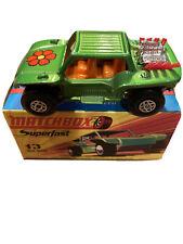 Matchbox Superfast #13 Baja Buggy Green Car with Box Near Mint LOOK!