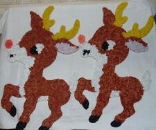 2 Vintage Christmas Melted Plastic Popcorn Decorations Reindeer Rudolph