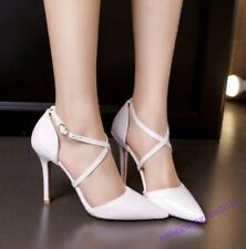 Stylish Ladies Shoes Party Cross Strap Buckle Patent Leather High Heels Elegant