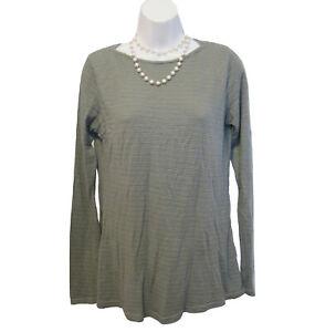 CUT LOOSE Striped Top Size S Small Shirt Gray Grey Knit Long Tencel Casual