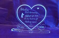 60th Birthday Mum  Engraved Clear Acrylic Heart Keepsake Gift Personalised