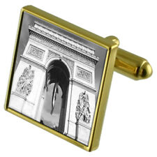 Arc De Triomphe Monument Gold-Tone Cufflinks In Pouch