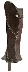 Black Suede Leather Classic Comfort Gaiters / Half Chap with silver stitching