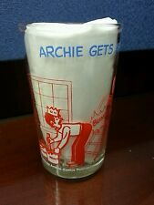 Vintage Archie Embossed Hot Dog on bottom Helping Hand Jelly Juice Glass 1973