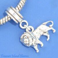 Lion Leo Zodiac Sign 925 Solid Sterling Silver European Dangle Bead Charm Euro