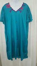 VENTURA  CALF LENGTH TEAL BUTTON DOWN NIGHTGOWN OR ROBE  SIZE 3X