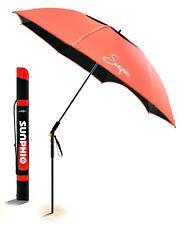 Sunphio Large Windproof Beach Umbrella Portable 360 Tilt Mechanism Red