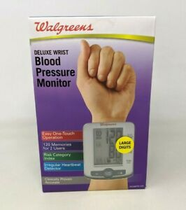 New Walgreens Deluxe Wrist Blood Pressure Monitor Large Digits WGNBPW-520 TT20