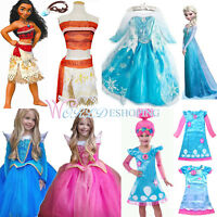 Kids Halloween Costume Disney Moana Princess Anna Elsa Girls Fancy Dress Lot