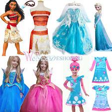 Kids Costume Cosplay Moana Princess Anna Elsa Girls Fancy Dress Halloween Outfit