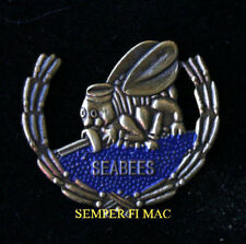 SEABEES WREATH  LAPEL HAT PIN UP WWII SEABEE SEA BEE US NAVY VETERAN MCB