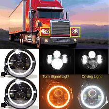 For Freightliner CORONADO LED H6024 Headlights Halo Angle Eyes Hi Lo Bi Headlamp