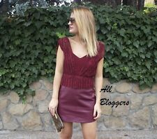 ZARA 📷 SOLD OUT BURGUNDY COMBINED LACE FAUX LEATHER DRESS 📷 SIZE M 📷 7288/260