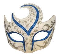 Venetian Eye Mask Swirl Top Blue & Silver Prom Mardi Gras Masquerade Costume