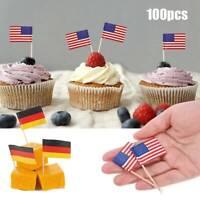 100pcs National Flags Sticks Picks Cupcake Sandwich Party Food Decor Supplies k
