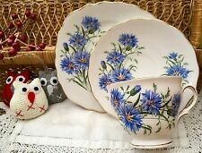 ROYAL VALE BONE CHINA 1960s TRIO CUP SAUCER PLATE SET - BLUE CORNFLOWER GILDED