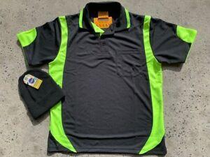 2 x work shirt hivis BLACKyellow/green/lime trim cool S/S safety polo FREEbeanie
