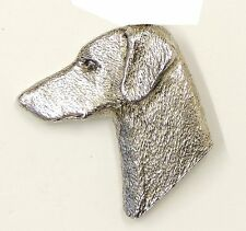Doberman Head Brooch, Silver Plated