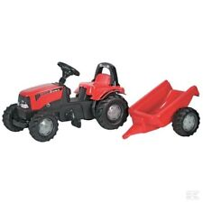 ROLLY TOYS CASE TRACTOR with Roll Bar and Trailer Ride On Kids Toy Case IH R0124