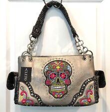 Cleto Concealed Carry Sugar Skull Gun Purse Handbag Shoulder Bag Pewter New Tags