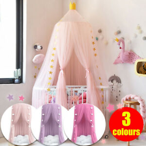 Bedding Dome Tent Cotton Kids Bed Canopy Bedcover Mosquito Net Curtain Decor UK