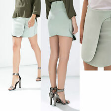 ZARA Light Green Thick Stretchable Jersey Wrap Mini Skirt  LARGE  Formal Casual