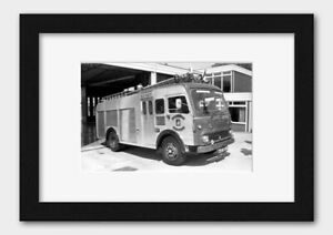 Warwick County's Fire Brigade's Truck in Rugby England 1971 Print