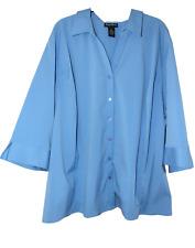 MAGGIE BARNES 4X 3/4 Sleeve Shirt Princess Seaming Blue