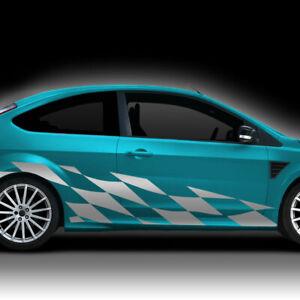 Autoaufkleber Seitenaufkleber Auto Aufkleber 2er Set Racing Flagge Decal X9148