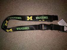 NCAA Michigan Wolverines Black Breakaway Lanyard Keychain NWT Free Shipping