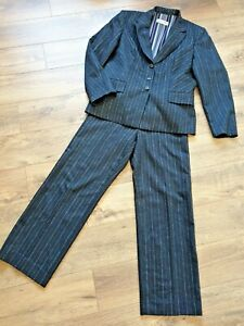 Vintage Gerry Weber Grey Pin Stripe Fitted 2 Piece Trouser Suit Fits UK 12 Work
