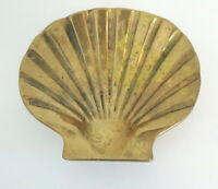 "Vintage Solid Brass Seashell Trinket Dish Penco 4"" x 4.5"" Coins Paperweight"