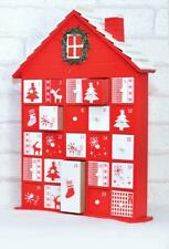 Wooden Christmas Advent Calendar House Red White Traditional