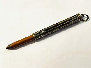 Old Vintage or Antique Brass Pocket Propelling Pencil Holder Fob