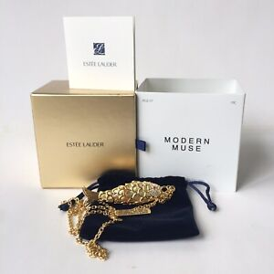 Estee Lauder Modern Muse Golden Articulated Fish Solid Perfume Necklace NIB