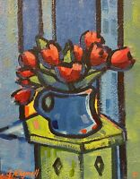 """Abstract Impressionist / Fauvist Painting. """"Red Tulips Still Life"""""""