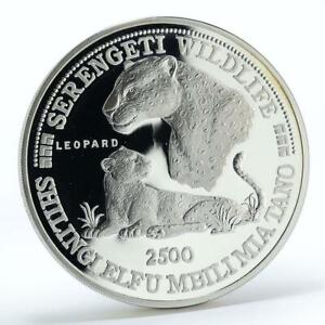 Tanzania 2500 shilings Wildlife Leopard animal proof silver coin 1998