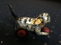 ANTIQUE c1940's MARX CAT CHASING RED BALL TIN LITHO WIND UP TOY THAT WORKS