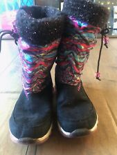 Skechers Girls Winter Boots Skech Air Boot Black Pink Memory Form Size 4Y