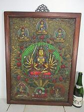 altes BRONZE Buddha Relief Thangka ziseliert Guan Yin Bild Holz Tibet ~1940 74cm