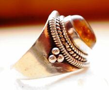 Silberring 58 Bernstein Handarbeit Braun Silber Ring Verspielt Muster Vintage